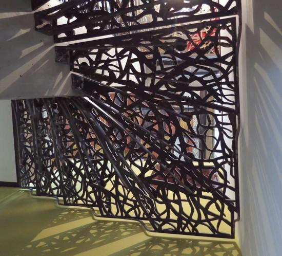 escalier métallique ajouré, en colimaçon, Oppedette