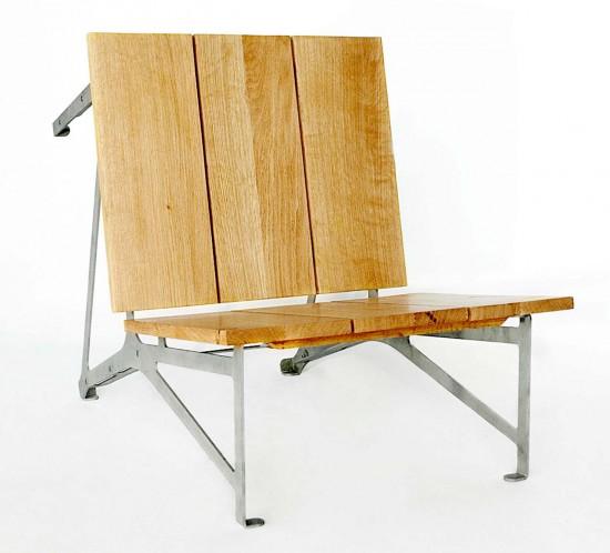 siège réversible inox et chêne, design C-Cube C-Cube
